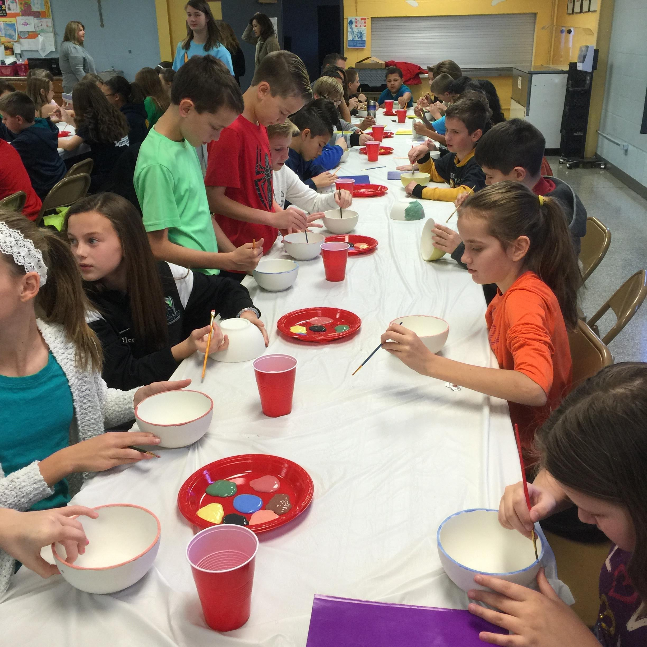 kids painting bowls
